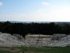 Greek ampitheatre facing stage and harbour